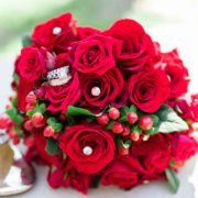 Red Rose Bouquet and Wedding Bands