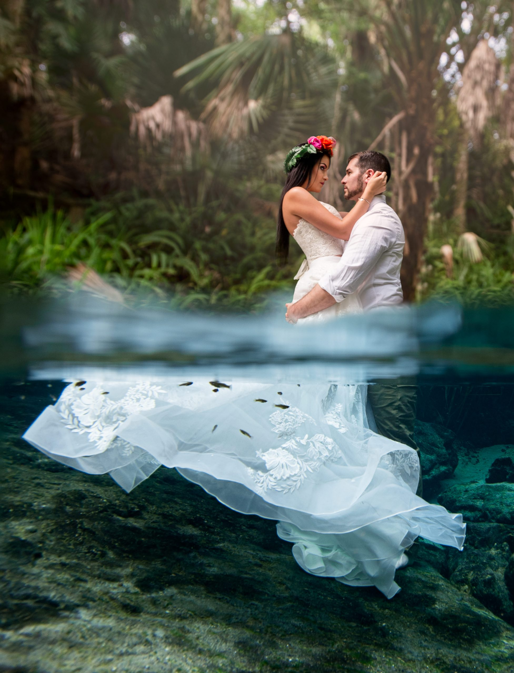 underwater wedding bridal photography water bear drench trash the dress