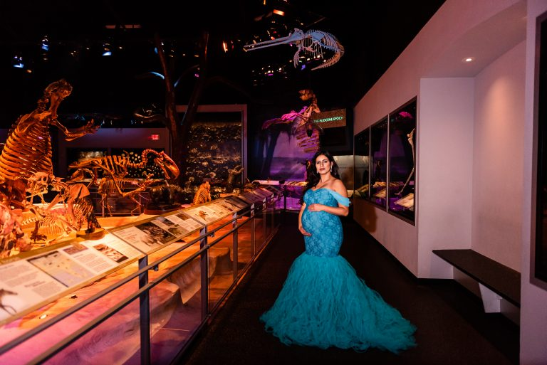 Maternity photography session at the University of Florida's Museum of Natural History Exibits