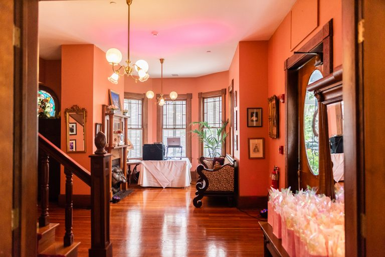 Foyer and dancing area for smaller reception room at sweetwater branch inn in gainesville florida