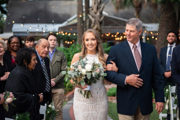 father daughter walk down the aisle sweetwater branch inn gainesville florida
