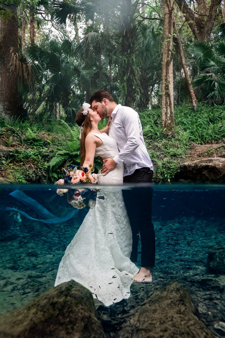 Underwater Bridal Photography Shoot at Kelly Rock Springs in Apopka Florida