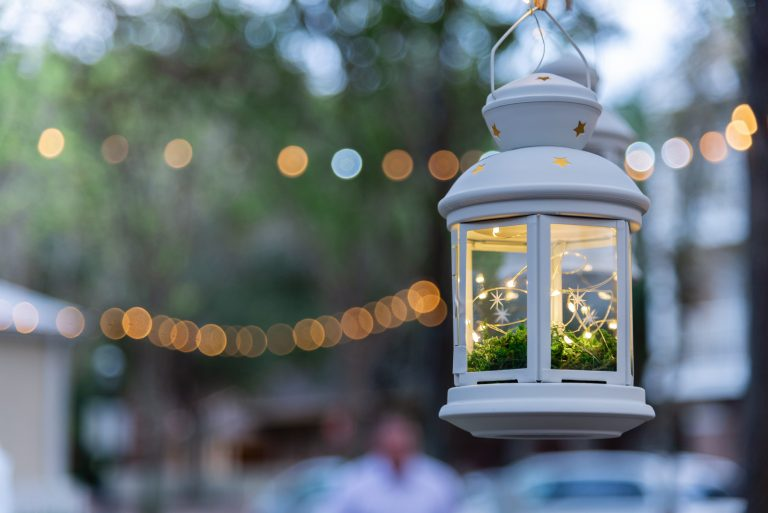 Lantern with String Lights for Wedding Ceremony at Haile Plantation Hall, Gainesville Florida