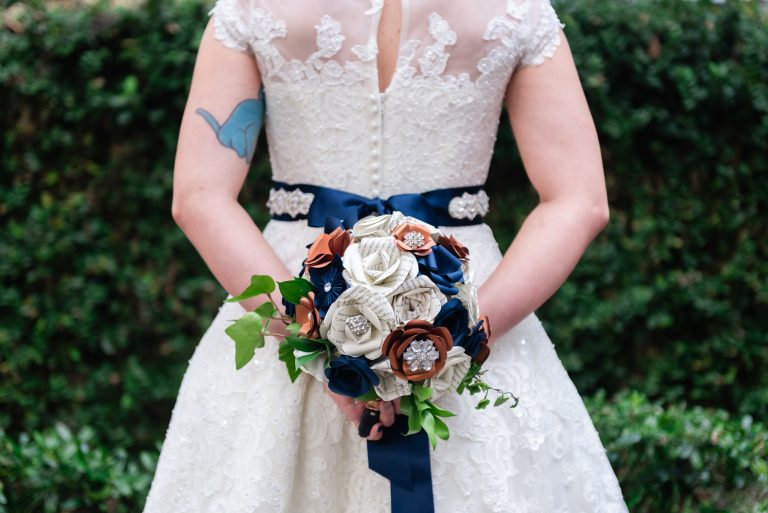 Eclectic Bridal Wedding Bouquet with Paper Flower