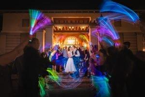 Glow Stick Wedding Reception Exit Getaway, Haile Plantation Hall, Gainesville Florida