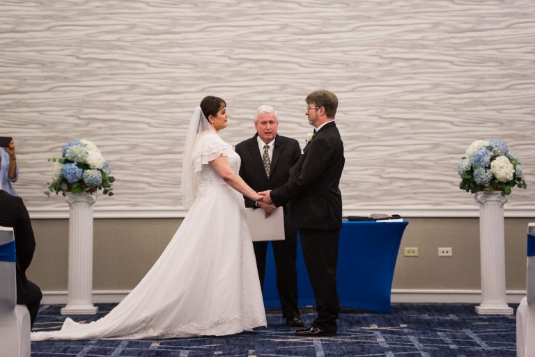 Indoor Social Distanced Wedding Ceremony at the Hilton Hotel, University of Florida Gainesville