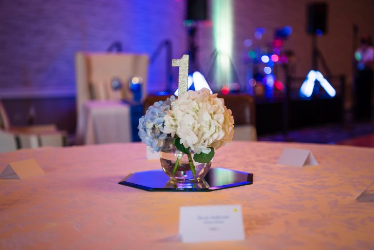 Wedding reception table centerpiece at the Hilton Hotel, University of Florida Gainesville