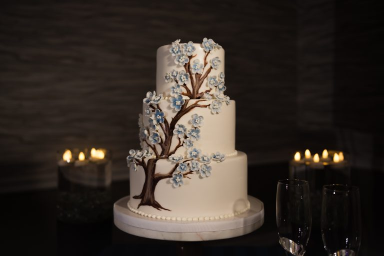 Beautiful three tiered tree wedding cake by Sugar Mamas Sweets in Gainesville Florida