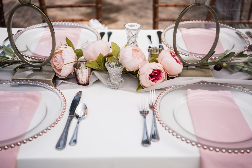 gainesville event rentals, mercer & smith wedding shoot table setups